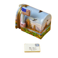 Mail Box American Flag/Eagle Rochard Limoges Box