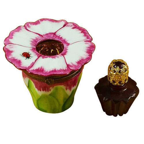 Pink Flower W/Perfume Bottle Rochard Limoges Box