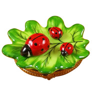 Green Leaf With Three Ladybugs Rochard Limoges Box