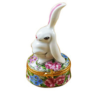 Limoges Imports White Rabbit W/1 Ear Up Limoges Box