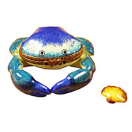 Limoges Imports Blue Crab W/Shell Limoges Box