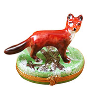 Limoges Imports Red Fox On Green Box Limoges Box