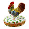 Limoges Imports Rooster On White Base Limoges Box