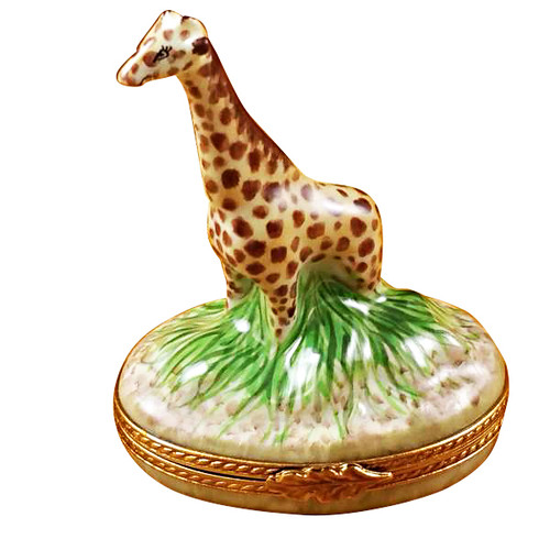 Limoges Imports Giraffe On Grass Limoges Box