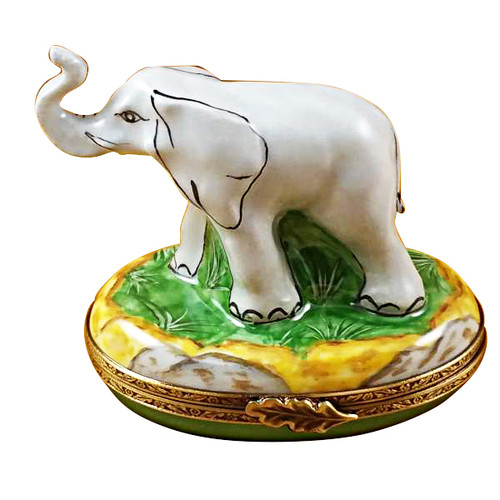 Limoges Imports Gray Elephant Trunk Up Limoges Box