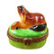 Limoges Imports Small Horse On Green Base Limoges Box