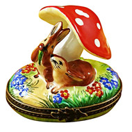 Limoges Imports Bunnies Under Mushrooms Limoges Box