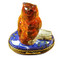 Limoges Imports Barn Owl On Blue Base Limoges Box