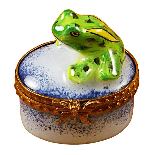 Limoges Imports Small Frog On Blue Box Limoges Box