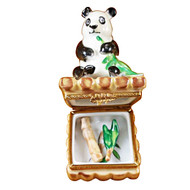 Limoges Imports Panda With Removable Bamboo And Green Leaf Branch Limoges Box