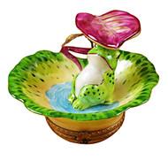 Limoges Imports Frog Under Leaf Limoges Box