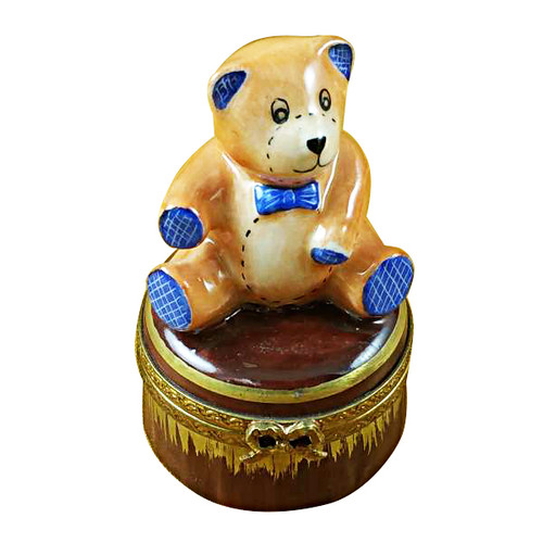 Limoges Imports Teddy Bear On Brown Base Limoges Box