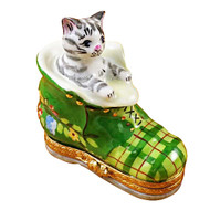 Limoges Imports Cat In Shoe Limoges Box
