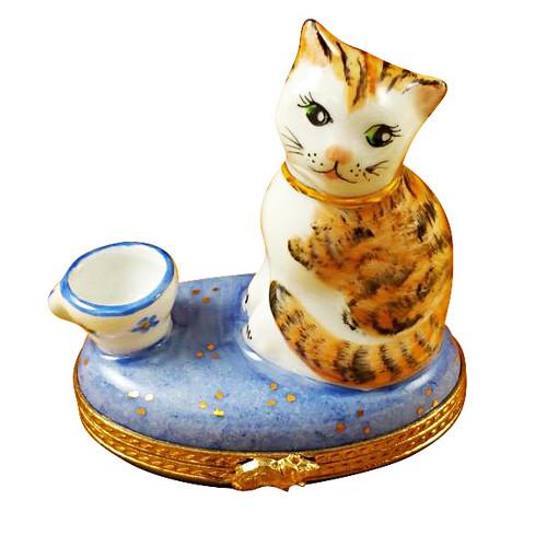 Limoges Imports Cat-Bowl-Blue Base Limoges Box