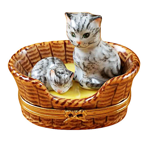 Limoges Imports Kitten In A Basket Limoges Box
