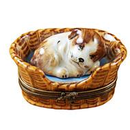 Limoges Imports Dreaming Dog In Basket Limoges Box