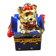 Limoges Imports Terrier In Present Limoges Box