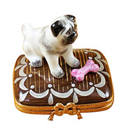 Limoges Imports Pug On Base With Bone Limoges Box