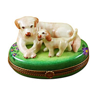 Limoges Imports Yellow Lab & Puppy Limoges Box