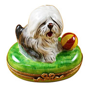 Limoges Imports Old English Sheep Dog With Ball Limoges Box