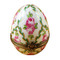 Limoges Imports Egg With Green Stripes And Flowers Limoges Box