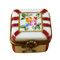 Limoges Imports Small Square Red Stripped Limoges Box