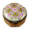Limoges Imports Pink Stripped Round Limoges Box