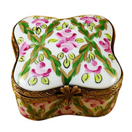 Limoges Imports Green/Pink Flowers Square Limoges Box