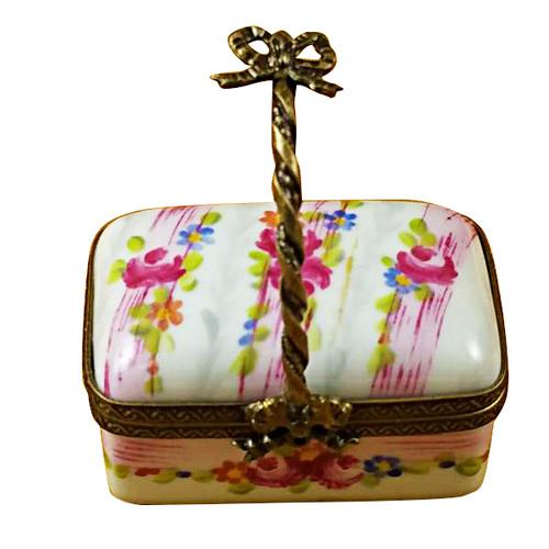 Limoges Imports Pink Basket W/ Handle Limoges Box