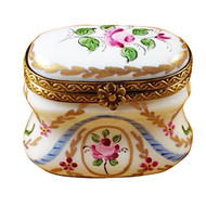Limoges Imports Tall Oval W/Pink Flowers Limoges Box