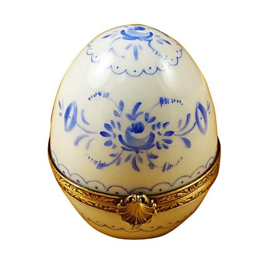 Limoges Imports Blue Delft Egg Limoges Box