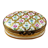 Limoges Imports Oval With Gold & Roses Limoges Box