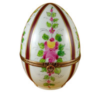 Limoges Imports Large Burgundy Striped Egg W/Flowers Limoges Box