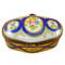 Limoges Imports Oval With Blue & Flowers Limoges Box