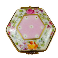 Limoges Imports Pink Hexagon With Flowers Limoges Box