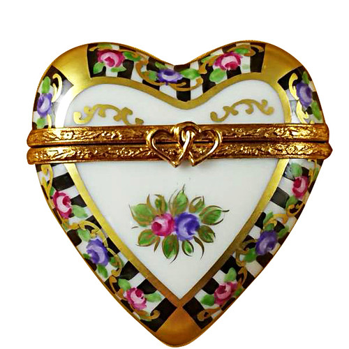 Limoges Imports Black & White Heart Limoges Box