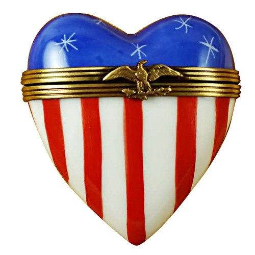 Limoges Imports American Flag Heart Limoges Box