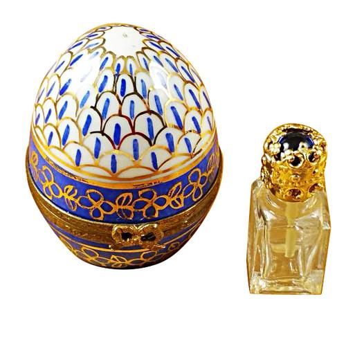 Limoges Imports Large Blue Egg W/Bottle Limoges Box