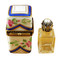 Limoges Imports Blue Tall W/1 Bottle Limoges Box