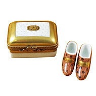 Limoges Imports Gold Box W/Shoes Limoges Box