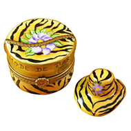 Limoges Imports Tiger Hat Box W/Hat Limoges Box