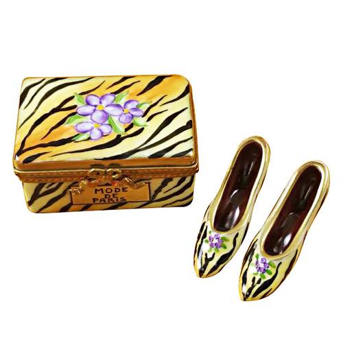 Limoges Imports Tiger Shoe Box W/ Shoes Limoges Box