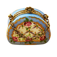 Limoges Imports Light Blue Purse With Flowers Limoges Box