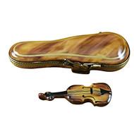 Limoges Imports Violin In Brown Case Limoges Box