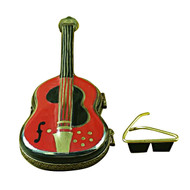 Limoges Imports Red Guitar W/Glasses Limoges Box
