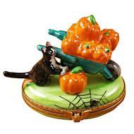 Limoges Imports Pumpkins In Wheelbarrow Limoges Box