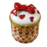 Limoges Imports Round Valentine W/Dangling Heart Limoges Box
