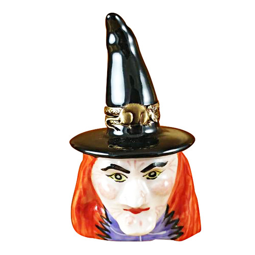 Limoges Imports Witches Head W/Black Hat Limoges Box