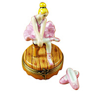 Limoges Imports Blond Hair Ballerina W/Toe Shoes Limoges Box