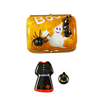 Limoges Imports Halloween Trunk W/ Dress & Hat Limoges Box